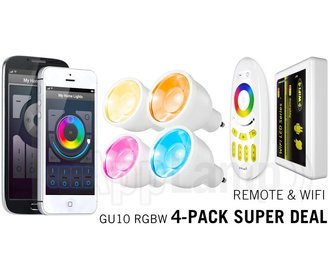 Super Saver 4-PACK 4 Watt GU10 Wi-Fi LED spotlights + Wifi Box + Remote