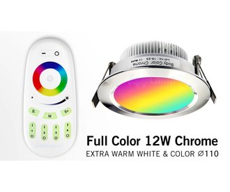 AppLamp 12 Watt MultiColor LED RGBW Chrome Recessed Downlights. Set with 230V driver and RF remote ** NEW **