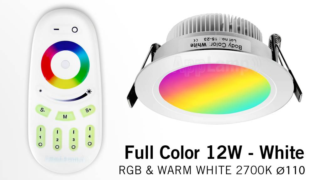 AppLamp 12 Watt MultiColor LED RGBW Satin White Recessed Downlights. Set with 230V driver and RF remote ** NEW **