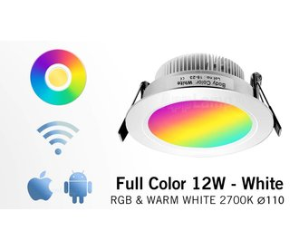 AppLamp AppLamp 12 Watt MultiColor LED RGBW Satin White Recessed Downlight with 230V driver ** NEW **