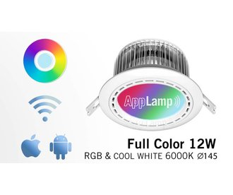 AppLamp MegaDeal! 12 Watt LED RGBW recessed downlight with RGB color and cool white 230V