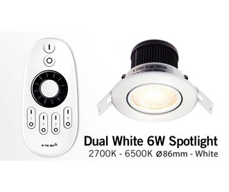 AppLamp 6 Watt Dual White LED tiltable recessed downlights. Set with RF remote and 230V driver. Satin gloss white