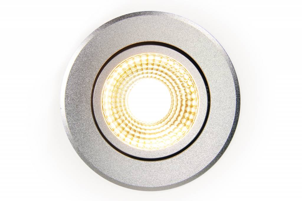 AppLamp 6 Watt Dual White LED tiltable recessed downlight. 230Volt Driver/controller included. Silver Chrome