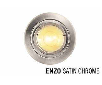 LED Recessed lighting trim ENZO, GU10 Fixture, Satin Chrome round