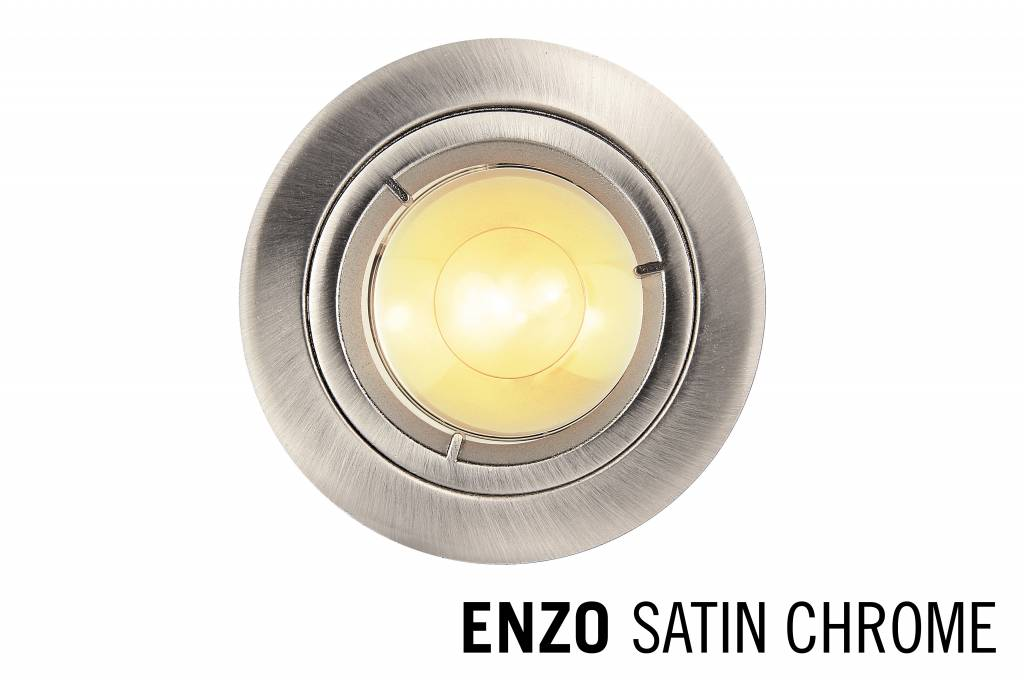 LED Recessed trim ENZO, GU10 Fixture, Satin Chrome round