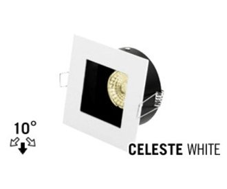 LED Recessed lighting trim CELESTE, GU10 Fixture, White recessed square, Tiltable 10°