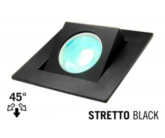 LED Recessed lighting trim STRETTO, GU10 Fixture, Black Square, Tiltable 37°