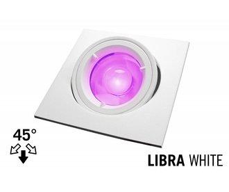 LED Recessed lighting trim LIBRA, GU10 Fixture, White Square, Tiltable 45°