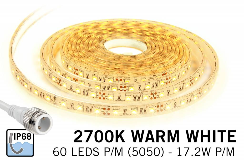 Waterproof Warm White LED strip IP68 with 300 leds, 5M,12V, 72W