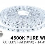 Waterproof LED strip natural white 4500K Waterproof (IP68) with 300 leds 12V, 5 meter