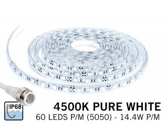 Waterproof LED strip natural white 4500K Waterproof (IP68) with 300 leds 12V, 5 meter
