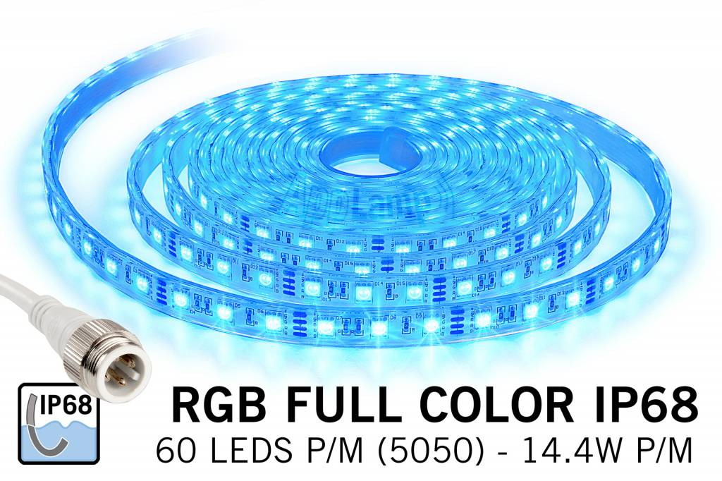 Waterproof RGB LED strip IP68 with 300 RGB LEDs 12V, 72W, 5M