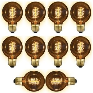 10x E27 kooldraadlamp 40 Watt Gold Globe