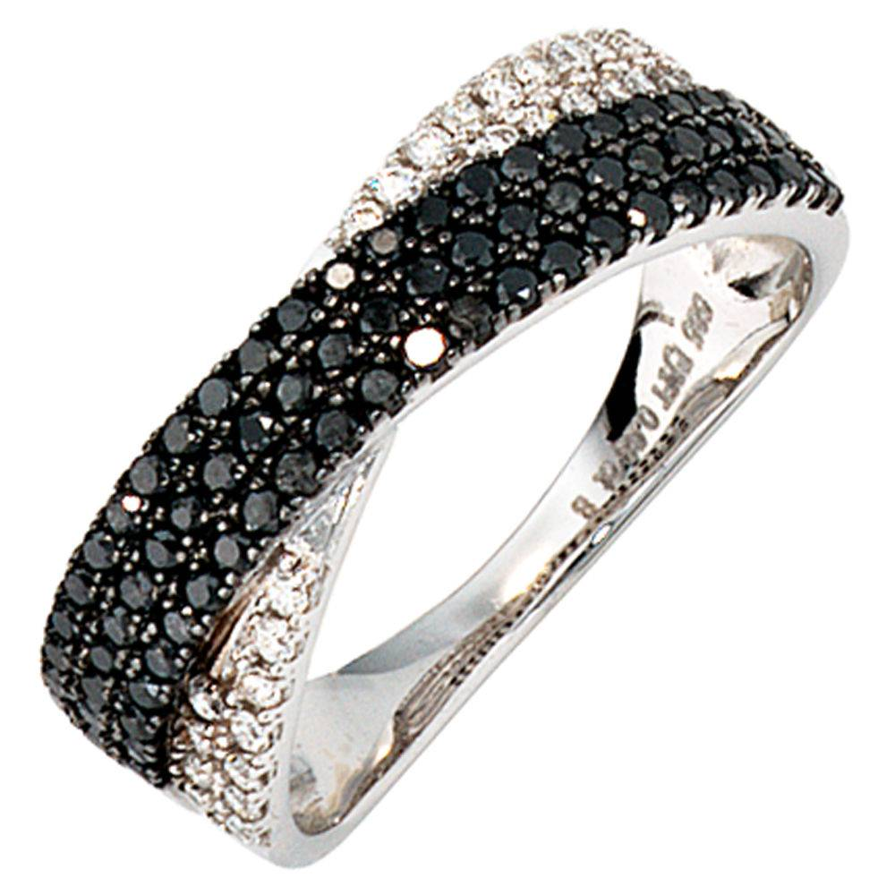 diamant ring schwarz und wei 585 wei gold schmuck accessoires. Black Bedroom Furniture Sets. Home Design Ideas