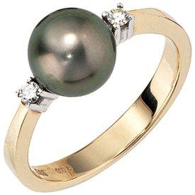 Tahitiperlen Ring mit Diamant 585 Gelbgold