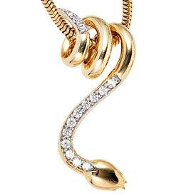 Diamantanhänger - Schlange - 585 Gelbgold