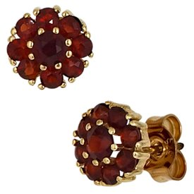 Granat Ohrstecker 375 Gelbgold