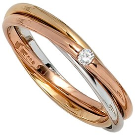 Diamantring - tricolor - 585 Gold mit Diamant