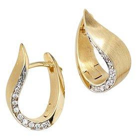 Creolen 585 Gelbgold mit Diamanten