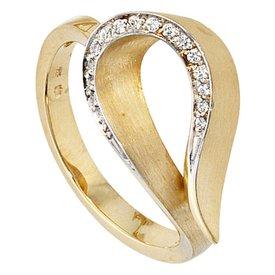 Gelbgoldring 585 mit Diamanten