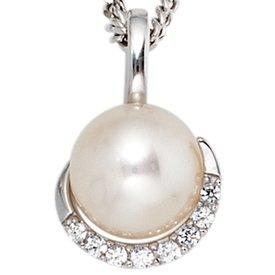Perlen Diamant Anhänger 585 Weißgold
