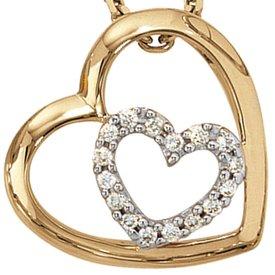 Herz-Diamant-Anhänger 585 Gelbgold