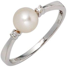 Perlenring 585 Weißgold mit Zuchtperle und Diamanten