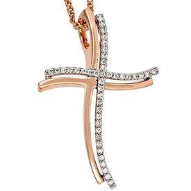 Anhänger Kreuz, Rotgold und Weißgold, Diamanten