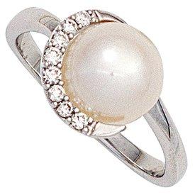 Perlenring 585 Weißgold mit Diamanten
