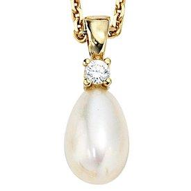 Perlen Anhänger Gelbgold 333 mit Zirkonia
