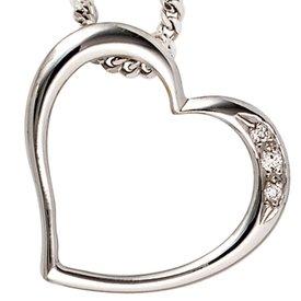 Anhänger Herz Weißgold 585, Diamanten