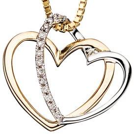 Anhänger Herzen Gelbgold 585 Diamanten