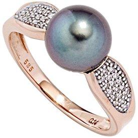 Tahiti-Perlenring mit Diamanten, Rotgold 585