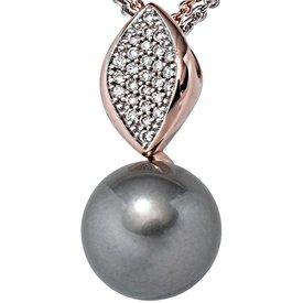 Perlen-Anhänger, Rotgold 585, Tahiti-Perle, Diamanten