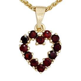 Herz-Anhänger Granat Gelbgold 375