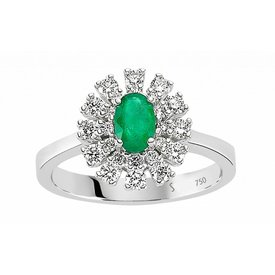 Diamant Smaragd Ring 750 Weißgold