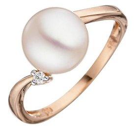 Perlen Diamantring 585 Rotgold