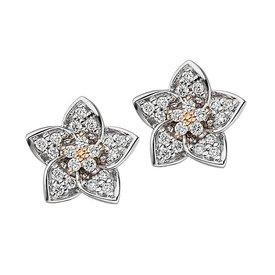 Diamant Ohrstecker Blüte 585 Gold bicolor