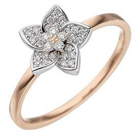 Diamant Ring Blüte 585 Gold bicolor