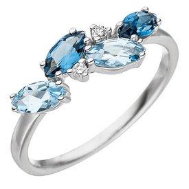 Blautopas Ring 585 Weißgold