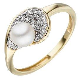 Perlenring mit Zirkonia 375 Gelbgold