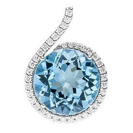 Blautopas Diamant Anhänger 585 Weißgold