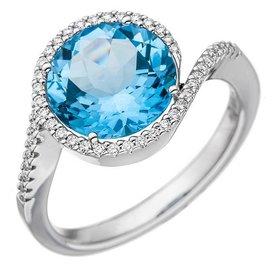 Blautopas Diamant Ring 585 Weißgold