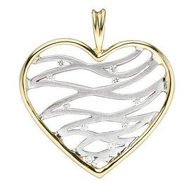 Herz Diamant Anhänger 585 Gold bicolor