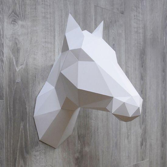Papieren Eenhoorn & Paard / Wit