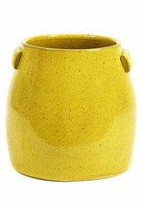 Yellow ceramic planter for indoor and outdoor use