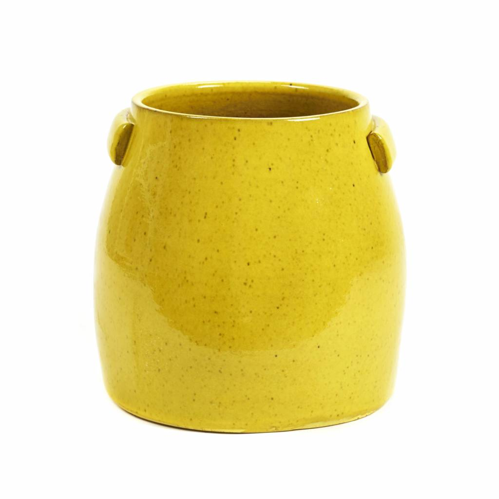 Yellow planter for indoor and outdoor use