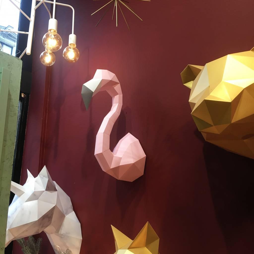 Papieren Flamingo set / Roze