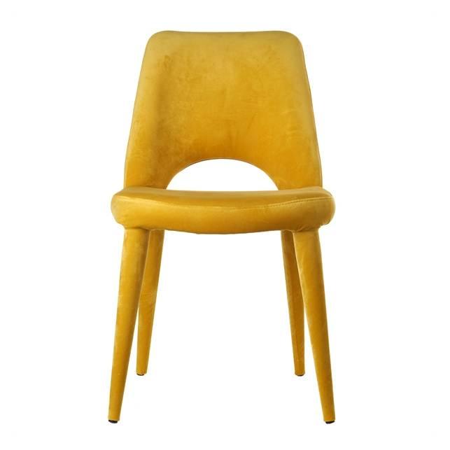 Stoel / Velvet / Geel - zonder armleuning