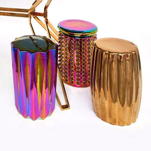 Ceramic Stool or Table / Oily Folds